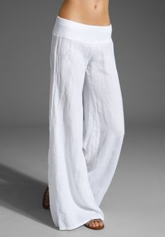 "Enza Costa Wide Leg Linen Pant.  33"" inseam. 21"" at the knee, breaks to 31"" at the hem. Jersey waist, French linen.    I will try to make these myself in black. Love the jersey waistband. So comfortable."