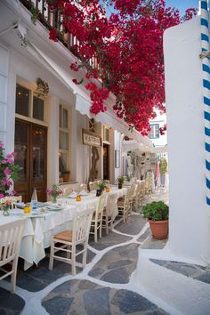 Dinner in Mykonos Town, Greece