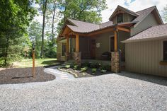Timber frame home in the woods. Timber Frame Home Plans, Timber Frame Homes, Barns, Woods, House Plans, House Design, Cabin, House Styles, Home Decor