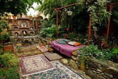 This Indian inspired outdoor space is enough to relax even the most agitated of spirits.
