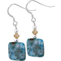 """Blue Crazy Lace Agate Earrings at The Animal Rescue Site  FUNDS 14 BOWLS OF FOOD!!!    Crazy lace agate is a variety of agate identified by its multi-colored twisting and turning bands. Its nature allows it to take color well, as evidenced by these luminous blue-dyed stones!        Lace agate & sterling fittings      0.5"""" sq. (1.3 cm)      Made in Rhode Island, U.S.A."""