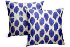 Blue Silk Ikat Pillows, Pair II on OneKingsLane.com
