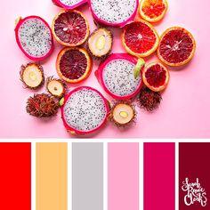 25 Color Palettes Inspired by Pantone Spring/Summer 2019 Color Trends Color Schemes Colour Palettes, Red Colour Palette, Color Trends, Color Combos, Summer Fruit, Spring Summer, Tropical Colors, Color Balance, Spring Colors