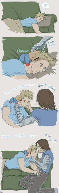 So cute wakes him up with bucky bear!! <3