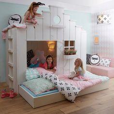 Mam, mag ik vast naar bed? Die vraag kun je zomaar verwachten als je kind een Vogelhuis bed heeft waarin het kan spelen, slapen én logeren. Slaapplek voor 3 kids! Gratis montage bij bezorging.