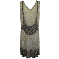 Pre-owned 1920s Iridescent Sequined Trompe L'oeil Floral Party Dress