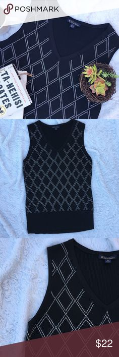 BROOKS BROTHERS • Silk V-Neck Sweater Vest Brooks Brothers V-Neck Sweater Vest in Black and White Pattern • Size Medium • 70% Silk • 30% Cotton • Good Condition • A few missing stitches in pattern but are not noticeable (see pics) • Great for Spring & Fall!! Brooks Brothers Sweaters V-Necks