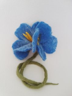 Felted brooch Blue Flower by Valyashki on Etsy