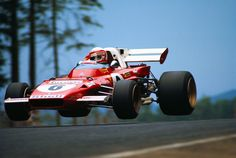 Clay Regazzoni flying over a hill in the Ferrari 312B2 at Nürburgring, 1971.