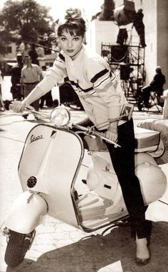 ELSA MARTINELLI and her vespa (1953) The 18 year old Italian actress was on the set of her 1st film Le Rouge et la Noir.