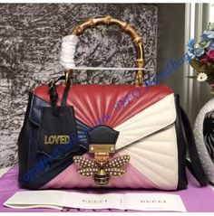 0f67d744923f Gucci Queen Margaret Quilted Leather Top Handle Bag Red Pink Clutch Mini,  Quilted Leather,