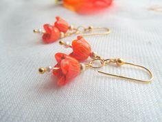 FLOWER EARRINGS / tiny seed pearl & gold stamens  by byLaurieB