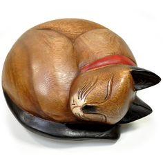 【楽天市場】まるまる猫さんLサイズ (木彫りの置物) 【ハンドメイド】 (猫雑貨 猫グッズ):雪猫屋 楽天市場店