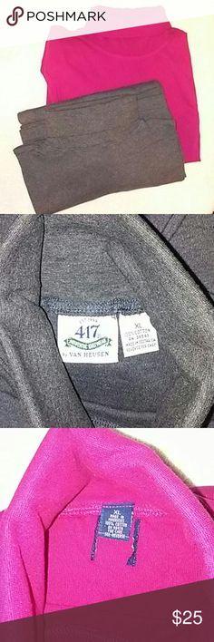 2 NWOT XL TURTLENECKS 2 NWOT XL TURTLENECKS GREY 1 is Van Heusen Red 1 has tag torn off 100% cotton Thick Very NIce Quality Van Heusen Shirts