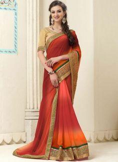 Orange Embroidery Work Georgette Banarasi Designer Party Wear Shaded Sarees http://www.angelnx.com/Sarees/Party-Wear-Sarees