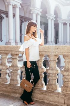 flared pants with ruffled off shoulder top and scarf