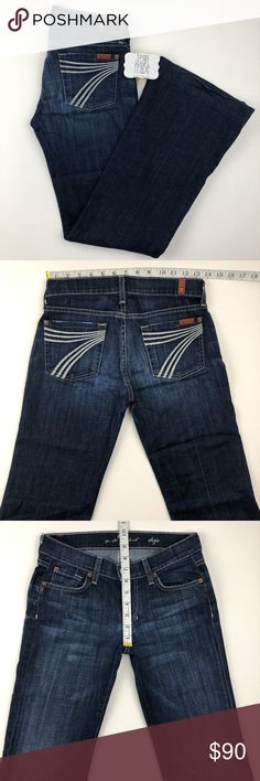 7 for all mankind dojo flare jean 7 for all mankind dojo flare jean. See photos for measurements. Zip fly, distressing and signature 7 stitching on back pockets. u115380s 25x31 0035 GUC H9 7 for all Mankind Jeans Flare & Wide Leg