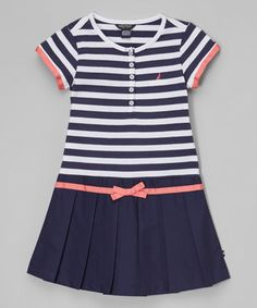 Another great find on #zulily! Navy Stripe Pleated Dress - Infant, Toddler & Girls by Nautica #zulilyfinds