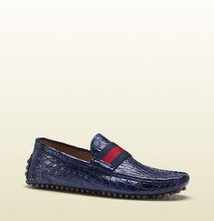 Gucci Blue Crocodile Pebble Bottom Driver on shopstyle.com