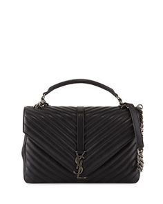 Monogramme College Large Chain Satchel Bag, Black by Saint Laurent at Neiman Marcus.