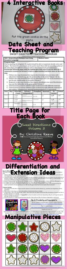 Students with autism will love these interactive books teaching following directions with cookies. These 4 books, teaching program and data sheet are designed to help teach students with autism the critical receptive language skills of responding to multiple cues in reading and educational materials. The books are differentiated to work with early learners of the skills and increase complexity through the volumes as the student masters the skill. #sweetdirections #autism