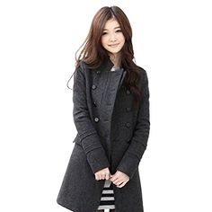 HUASHI Women's Stand Collar Double Breasted Cotton Thick Wool Trench Coats,M-L -- To view further for this item, visit the image link.
