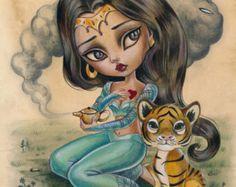 Princess Jasmine LIMITED EDITION print signed numbered Simona Candini lowbrow pop surreal big eyes Fairytales Aladdin tiger