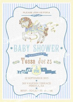 Baby Shower Invitation Carousel Horse by WestminsterPaperCo, $20.00