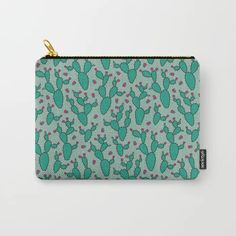 you need a hug - cactus print in green Carry-All Pouch by Marta Janicka - murkydesign - Small x Need A Hug, Cactus Print, Carry On, Pattern Design, Zip Around Wallet, Pouch, Green Cactus, Introvert, Art Supplies