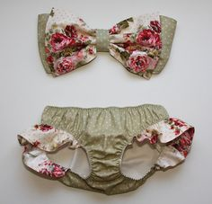 polka dot and floral bow bandeau set - Made to order. $130.00, via Etsy.