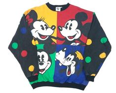 Vintage Mickey Mouse Colorblock Sweatshirt Crewneck Goofy Minnie Mickey & Co Polka Dot Snoopy Halloween, Marvin Gaye, Chuck Norris, Bugs Bunny, Woodstock, Cute Dresses, Vintage Dresses, Crew Neck Sweatshirt, Graphic Sweatshirt