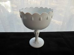 Indiana Milk Glass Opaque White Tear Drop Compote Pillar Candle Holder #IndianaGlass