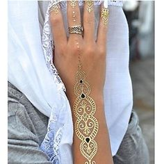 1PC Long Necklace Bracelet Gold Tattoos Temporary Tattoos Sticker Cuticle Tattoos Flash Tattoos Party Tattoos 2016 - $2.99