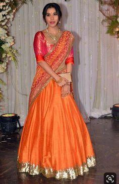 Banarasi Lehenga, Half Saree Lehenga, Lehenga Style, Sari, Orange Lehnga, Indian Dresses, Indian Outfits, Manish Malhotra Saree, Half Saree Designs