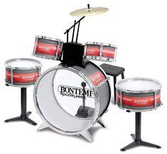 Bontempi 51 4830 6 Pieces Metallic Silver Drum Set with Stool, Multi-Color Bass Drum, Snare Drum, Drum Sticks, Music Genius, Shops, Music Store, Drum Kits, Rock, Drummers