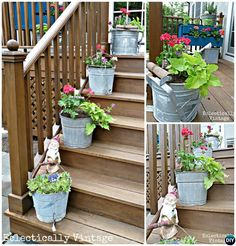 Mop Bucket Planter Front Stairs-20 DIY Porch Decorating Ideas Projects