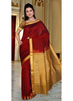 maroon-red-with-golden-kanchipuram-silk-trendy-saree_16835-800x1100.jpg (800×1100)
