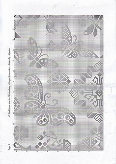 Wiehenburg Butterfly Quaker page 4 Butterfly Cross Stitch, Crochet Butterfly, Cross Stitch Borders, Cross Stitch Samplers, Cross Stitch Designs, Cross Stitching, Cross Stitch Patterns, Filet Crochet Charts, Crochet Cross