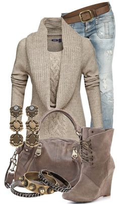 Sweater, wedges and jeans - Fashion Jot- Latest Trends of Fashion.... LESS bangle and heel...but nice
