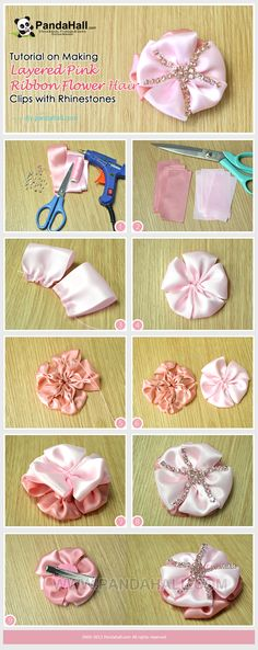 Tutorial on Making Layered Pink Ribbon Flower Hair Clips with Rhinestones