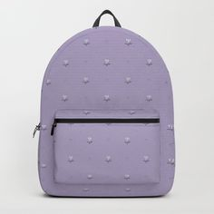 """Backpack """"Ladybug and Little Flower"""" in Violet by Elena Lourie.  Worldwide shipping available at Society6.com.   #backpack #accessories  #surfacedesign #pattern #textile #textiledesign #girls #kids #print #ladybug #bug  #gift #giftideas #lavender #violet #dustylilac #elenalourie #printandpattern #society6 #shopping #shop #sale #forsale #promo #cutedesign #fundesign"""