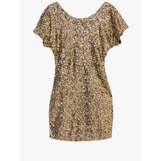 Gold Sequin Bat Sleeve Bodycon Mini Dress ($100) ❤ liked on Polyvore featuring dresses, sequin dress, sequin body con dress, short sequin dress, bodycon dress and gold bodycon dress