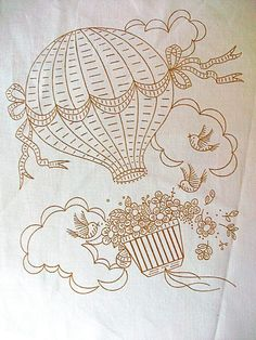 Hot Air Balloon Fabric Embroidery Pattern