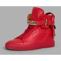 Buscemi Sneakers ($740) ❤ liked on Polyvore featuring shoes, sneakers, red, red sneakers, leather high top sneakers, wedge heel sneakers, leather sneakers and buscemi sneakers