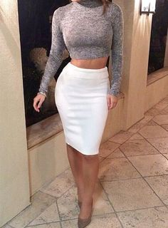 Sexy Turtle Neck Long Sleeve Crop Top + Solid Color Knitted Skirt Twinset For Women