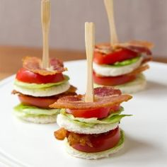 BLT Tea Sandwich: a version of these MAY happen as well http://pinterest.com/pin/find/?url=http%3A%2F%2Fwww.ohhowcivilized.com%2Fblog%2F2013%2F7%2F9%2Ftea-sandwich-bacon-lettuce-tomato.html