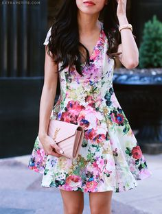ExtraPetite.com - Soft pink florals: ASOS petites fit and flare dress