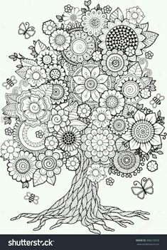 Tree Mandala Coloring Pages Blossom Tree Coloring Book for Adult Doodles for Tree Coloring Page, Mandala Coloring Pages, Coloring Book Pages, Printable Coloring Pages, Coloring Sheets, Coloring Pages Nature, Zentangle Patterns, Embroidery Patterns, Zentangles
