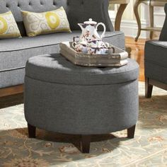 Home Decorators Collection Emma Textured Ottoman in Charcoal-0847000270 - The Home Depot