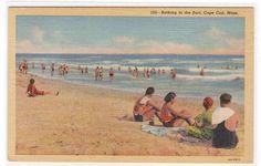 Beach Scene Surf Bathing Cape Cod Massachusetts linen pos... - bidStart (item 30049419 in Postcards... Cape Cod)